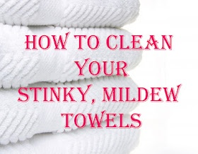 Wash your towels in hot water with a cup of vinegar, then run again in hot water with a half-cup of baking soda. That will strip your towels from all of that residue & mildew smell & will actually leave them feeling fluffy & smelling fresh. This really works!
