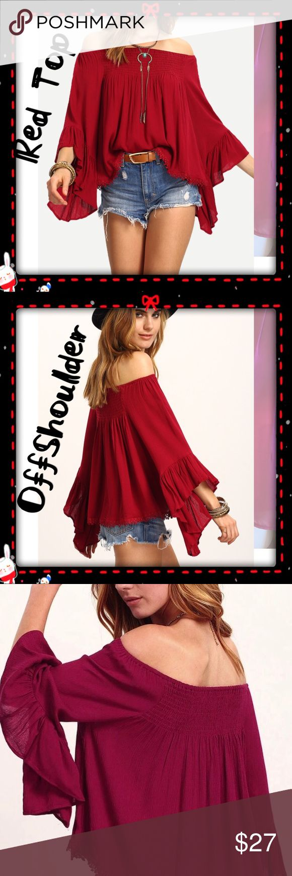 Beautiful Off Shoulder Red Top Beautiful Off Shoulder Red Tops. Tops Blouses
