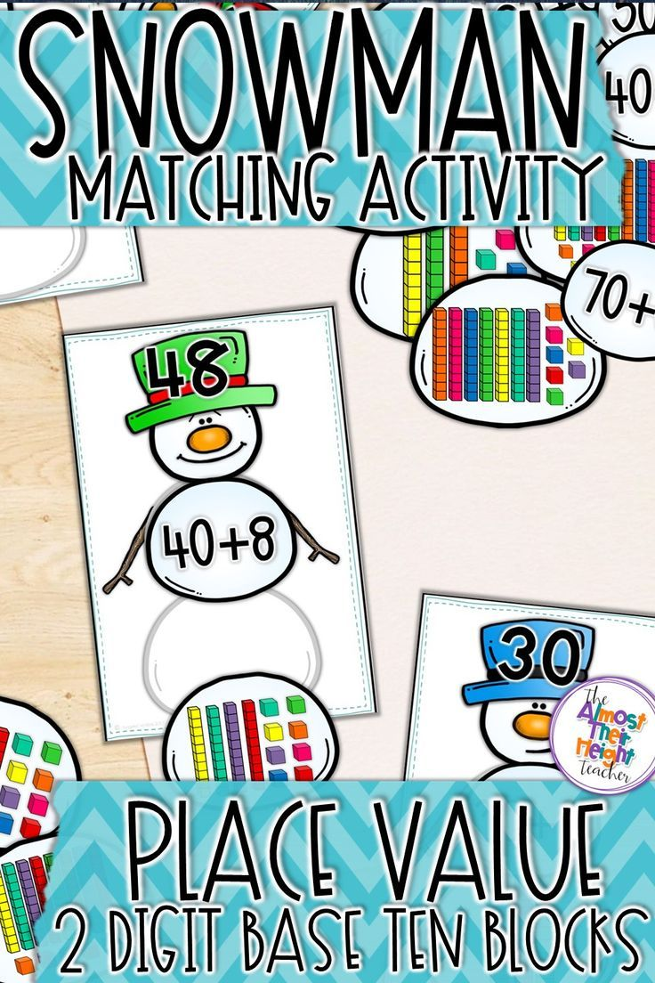 Get your students building snowmen with this fun place value activity. This is perfect for your math centers as they practice reading 2 digit numbers and finding the base 10 blocks and expanded form number to complete the snowman. Click to check out more  #placevalue  #placevalueactivities  #winter  #snowman #expandedform #number #mathcenters #kindergartenmath