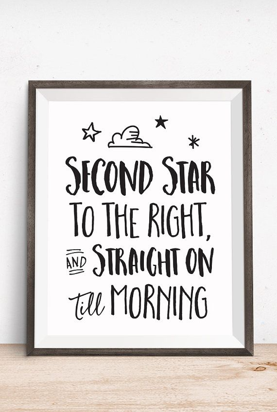 Printable Art Movie Book Quote Second Star to by happythoughtshop