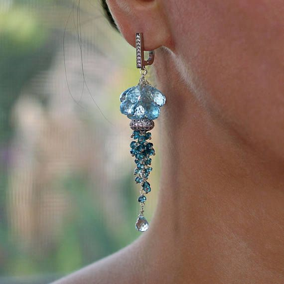Earrings made with Beautiful Swiss Blue Topaz and London Blue Topaz, Platinum plated Cooper CZ Cubic Zirconia Connector, 925 Sterling Silver ear wires, and 925 Sterling Silver wire. Details: Total length including wires is 3.1 inches (8 cm) Swiss Blue Topaz 9 mm briolettes London