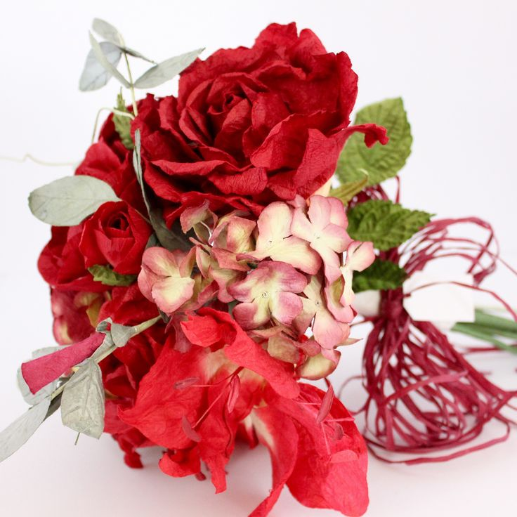 Mixed Paper Flower Bouquet- Romantic Reds – Paper Flowers Australia