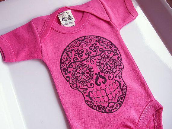 Trendy Baby Girl Skull Bodysuit 3 6 12 month Hot by BonesNelson
