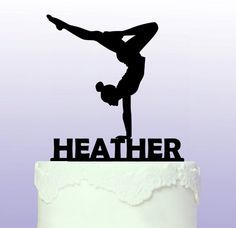 Personalised and Elegant Gymnastics Cake Topper by ArdereDesigns