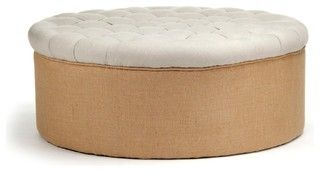 Tufted Round Ottoman - traditional - ottomans and cubes - by Zentique