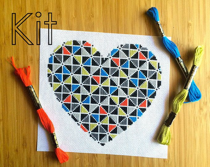 Cross stitch kit, geometrische hart, diy borduurwerk kit