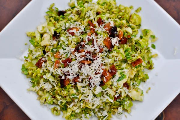 Shredded sprouts salad with bacon and asiago cheese. | Sprouts are ...
