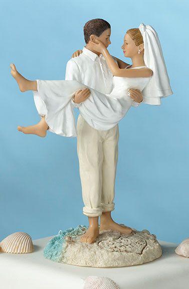 Beach Wedding Couple Figurine Cake Topper - Home Hearth Heart - 1
