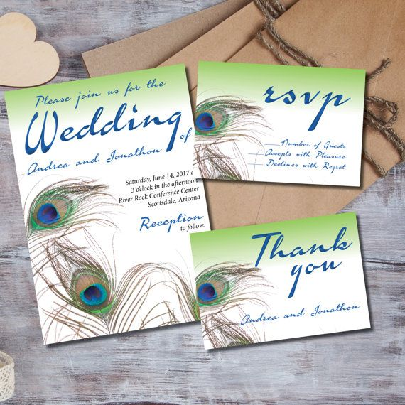 Peacock Feathers Wedding Invitation Set Suite Printed Printable Invitations Invites