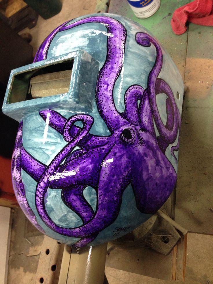 Acrylic and sharpie on a welding helmet.
