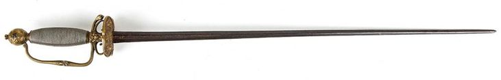 """An English, French or Dutch European Small Sword An English, French or Dutch Small Sword, circa. 18th century. 23.5"""" double edge blade that may be much older and re-used. Brass hilt/guard; twisted wire grip. 30"""" overall. No scabbard. #Weapons #MADonC"""