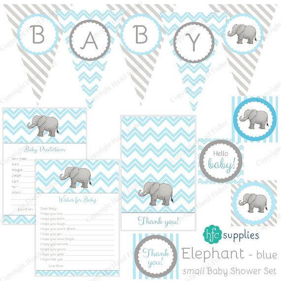 Elephant Baby Shower Set  Blue printable party collection by hfcSupplies.  Other colour schemes are also available.