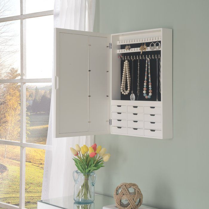 Tessa Wall Mounted Jewelry Armoire With Mirror Wall Mounted