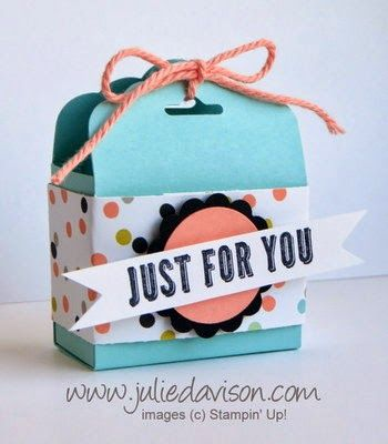 Sweet Sorbet Tag Topper Punch Treat Box - Julies Stamping Spot -- Stampin Up! Project Ideas Posted DailyPunch Treats, Julie'S Stamps, Sweets Sorbet, Ideas Post, Tags Toppers, Projects Ideas, Post Daily, Toppers Punch, Stamps Spots