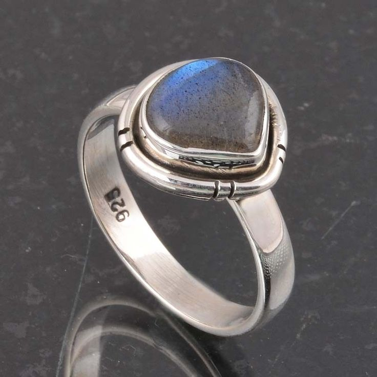 BLUE FIRE LABRADORITE 925 SOLID STERLING SILVER FASHION RING 4.26g DJR6388 #Handmade #Ring