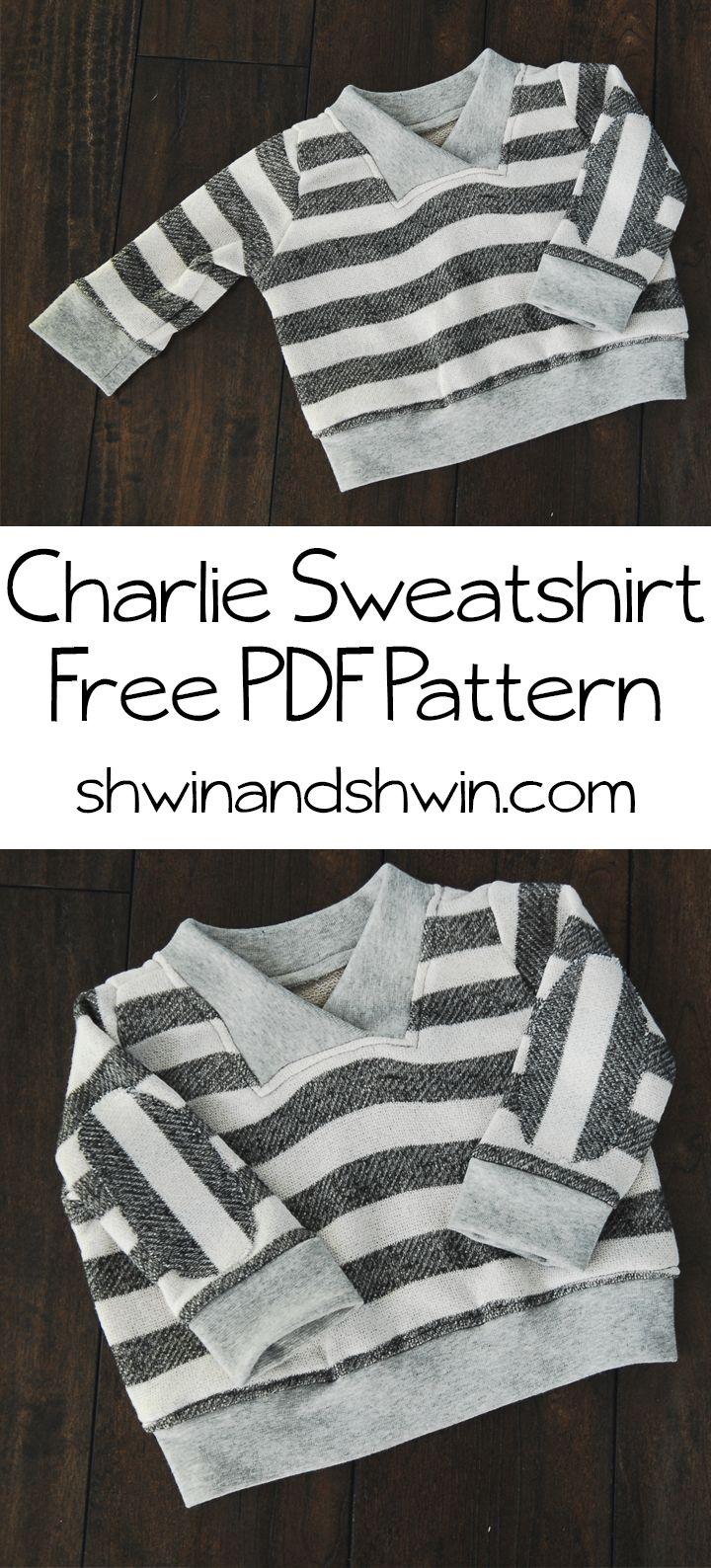 Charlie Sweatshirt    Free Sweatshirt Pattern 6  to 12 months.  Adorable. Free PDF :  http://shwinandshwin.com/wp-content/uploads/2014/01/Charlie1.pdf