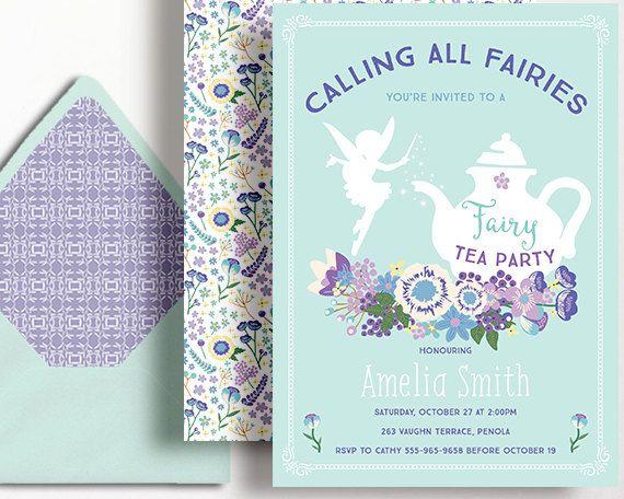 Fairy Tea Party Invitation Fairies Girls Purple Aqua Mint Blue by WestminsterPaperCo