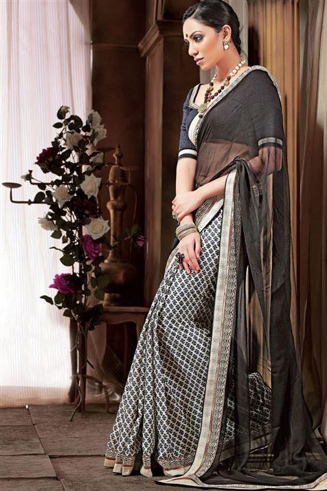 Awesome Printed Cotton,Chiffon Black,Off White Saree