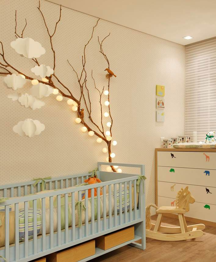like the soft lighting for the ball lights simple modern baby room neutral