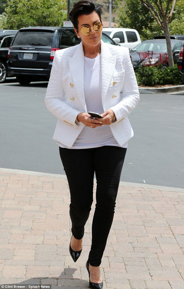 Matriarch: The trio were joined by Kourtney and Khloe's mother Kris Jenner on the outing...