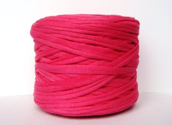 Pink T-Shirt Yarn, Cotton T-Shirt Tricot, Fabric Jersey Ideal for Necklaces, Bracelets, Rugs and Bags - 2,7m/3 yards(1 piece) on Etsy, $1.95