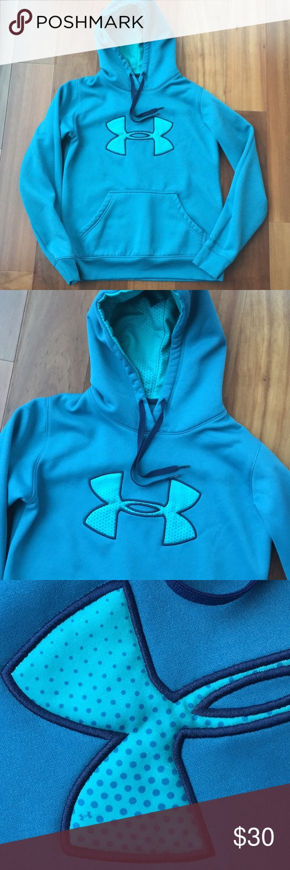 Under Armour hoodie Nice turquoise blue UA hoodie with polka dot accents. Great used condition. Women's small semi-fitted style. Under Armour Tops Sweatshirts & Hoodies