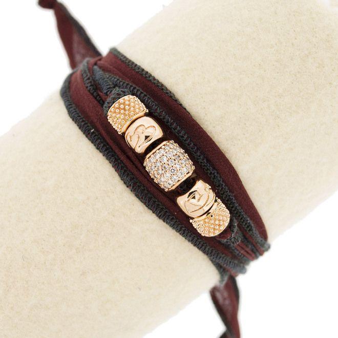 Bracciale in seta con inserti in bronzo e pietre swarovski
