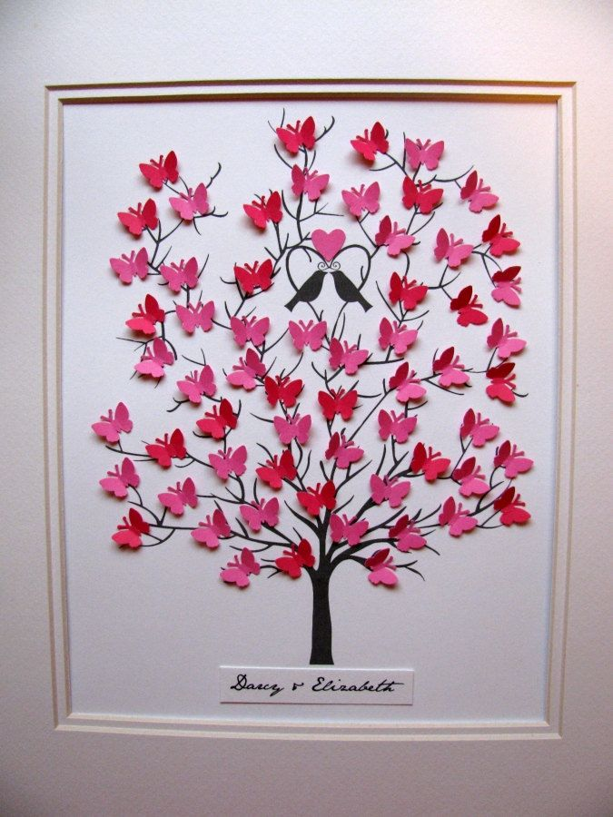3D Butterfly Tree - Wedding, Anniversary, Family Tree, Special Occasion - YOUR Choice of Colours - 8x10 Can be Personalized - Made to Order. $45.00, via Etsy.