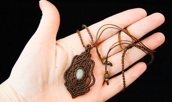 "Macrame pendant  with stone ""Lia"", micro macrame pendant, aventurine pendant, macrame jewelry. Brown pendant"
