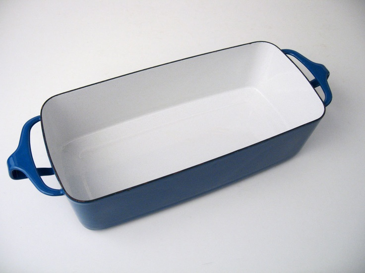 DANSK Bread Baking Meat Loaf Pan / Dish in Royal Blue - Mid-Century Dansk Enamelware.