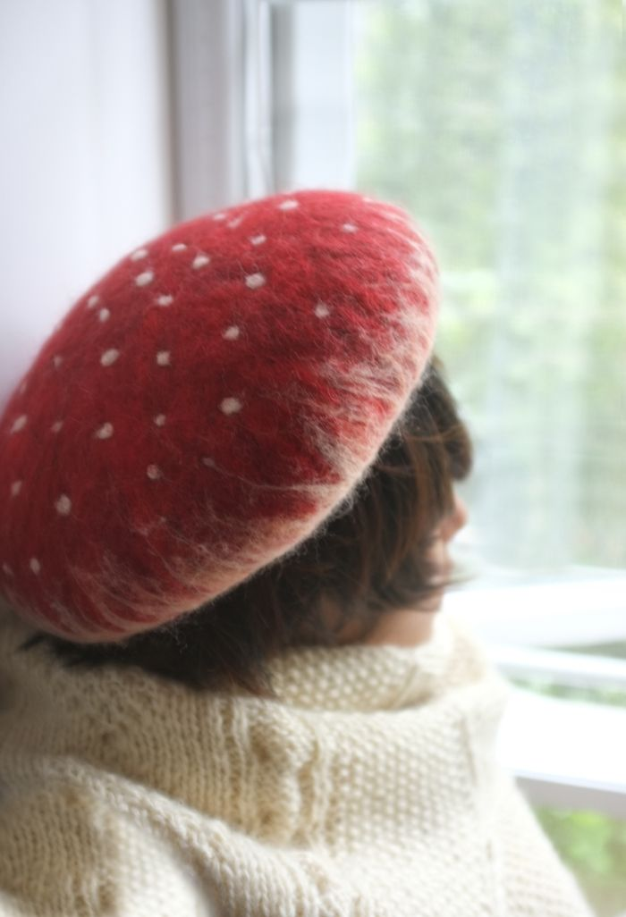 Mushroom hat always wanted a mushroom hate! Looks like this is felted. I could make something like it if I learned!