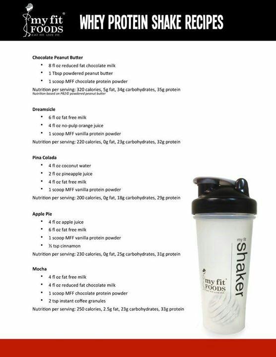 Whey protein shake recipes | Fitness Tips & Recipes | Pinterest