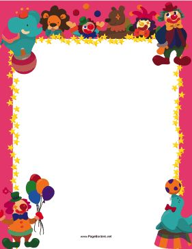 Great for carnivals, this printable circus border has clowns, seals, and jesters juggling on a pink background. Free to download and print.
