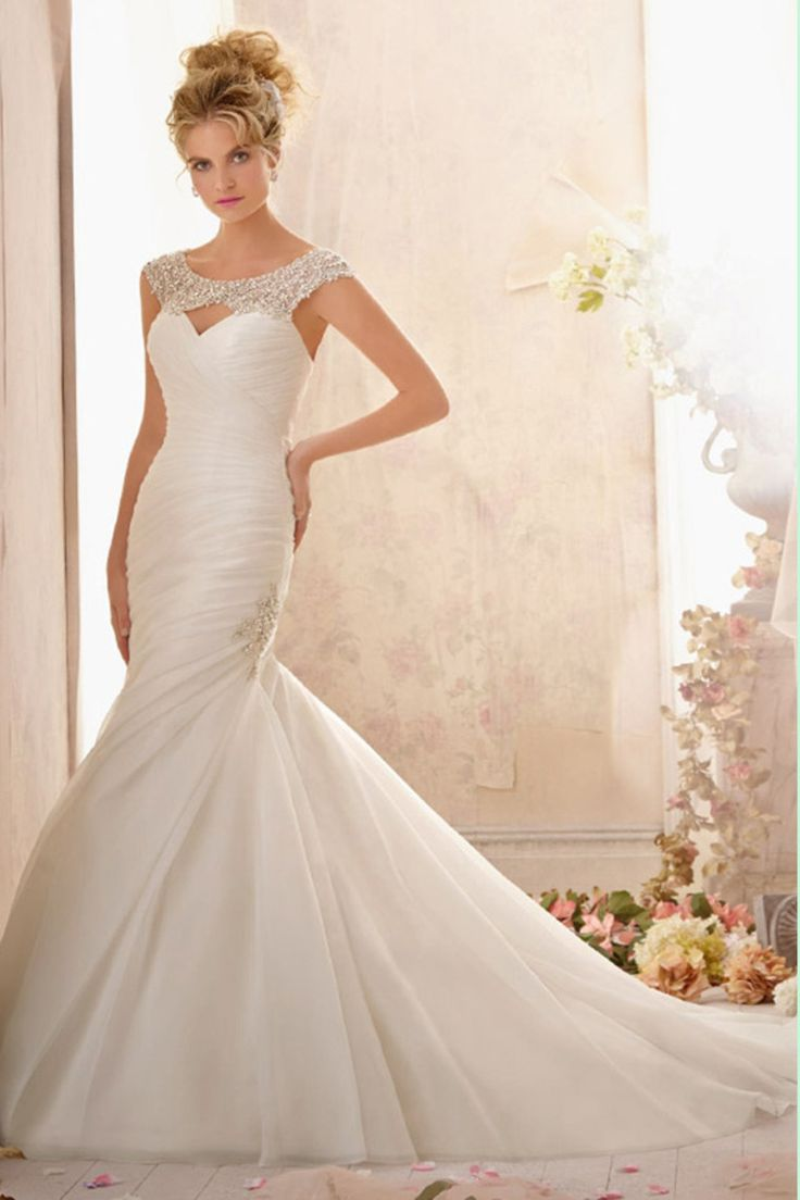 2015 New Design Floor length Beading Ruching Organza Chapel Train Scoop  Wedding Dress With Beading/
