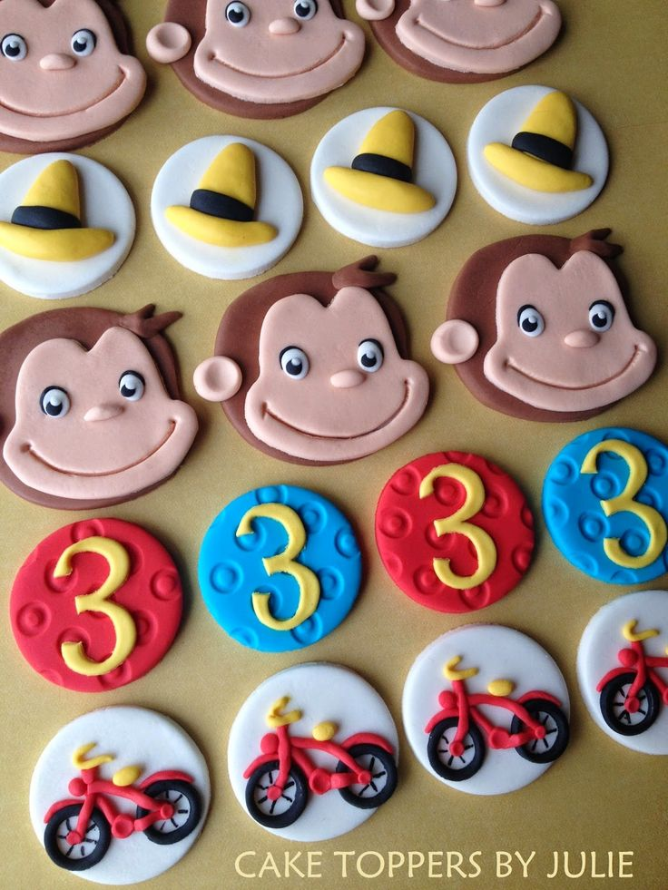 Custom Cakes by Julie: Curious George Cake & Cupcake Toppers