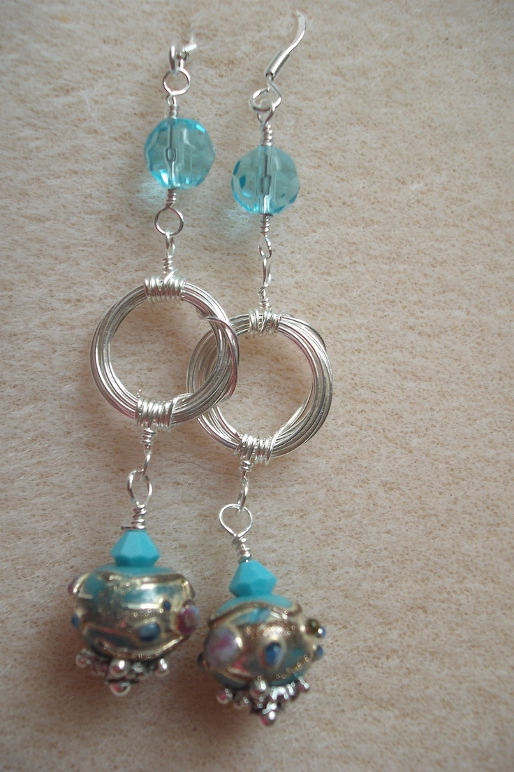Wire Wrapped Earrings With Blue Lampwork Beads And Czech Crystal Beads I  Have Added A