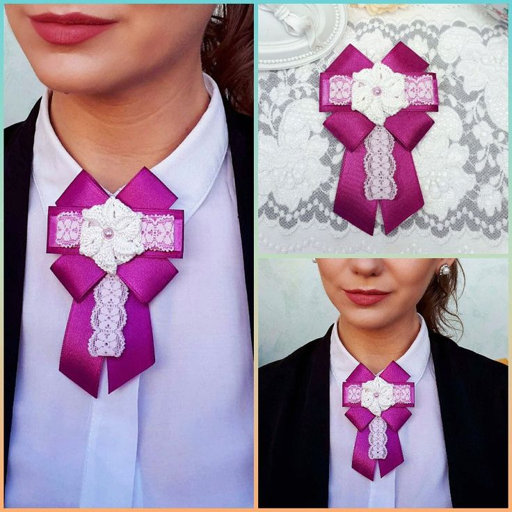 Fuchsia Bow Brooch, Satin Ribbon Bow Brooch, Bow Necktie by Rocreanique on Etsy #brooch #jewelry #neckjewelry #bowbrooch