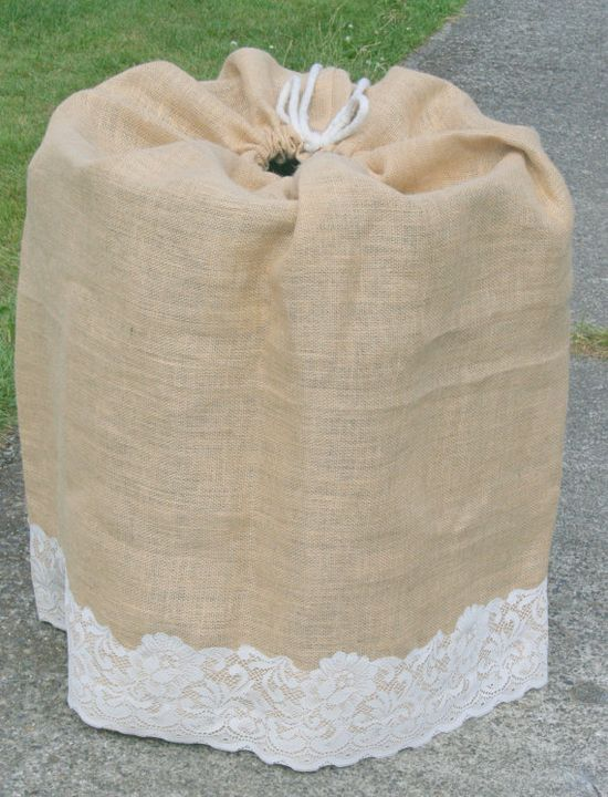 Best idea ever over that ugly keg at your wedding or for Burlap sack decor