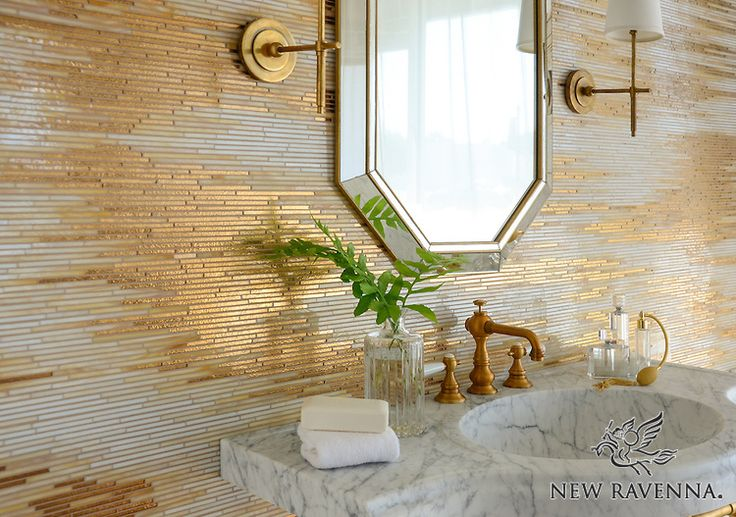 TILES Reve, a jewel glass mosaic, is shown in Gold Glass, Agate, and Quartz.
