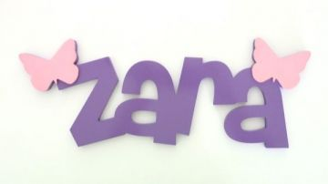 Bold Wooden Block Letters Personalised Name Plaque - Funky Fun (BUTTERFLY MOTIF…