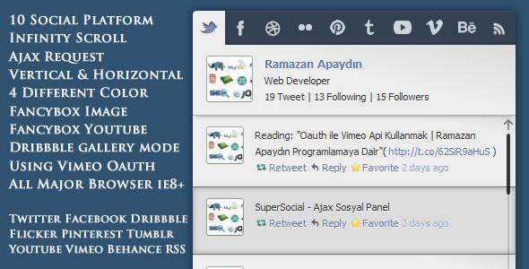 SuperSocial - jQuery Ajax Social Panel (Social Networks)