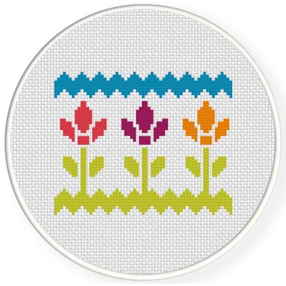 FREE for June 12th 2016 Only - Pretty Florals Cross Stitch Pattern
