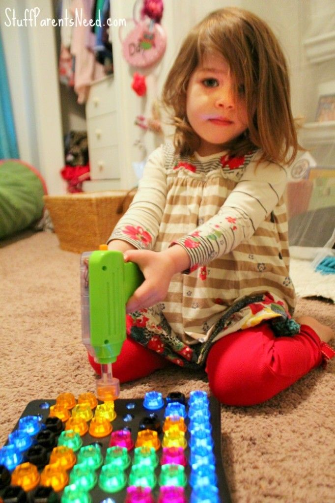 Awesome new toy for preschoolers: it's like a lite brite combined with a drill set! Design and Drill Brightworks by Educational Insights.