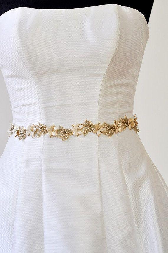 GOLD BELT Bridal Gold Belt wedding GOLD Flower por AdeleInWhite