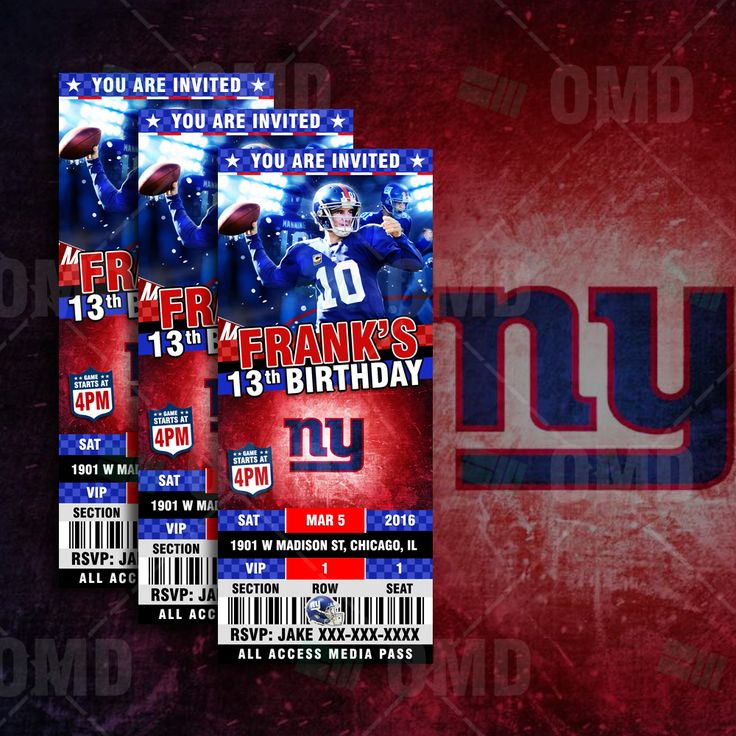 New York Giants Ticket Style Sports Party Invitations great for birthdays, save the dates, and baby showers