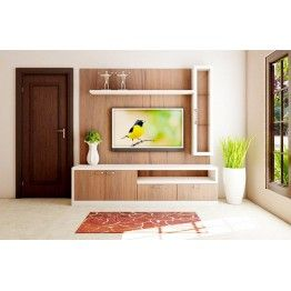 Elegant TV Unit with wall panel, cabinets, drawers, shelves. The color combination adds glorious look. This distinctive piece brings home lot of fun and entertaining section. Made up of plywood with laminate finish.