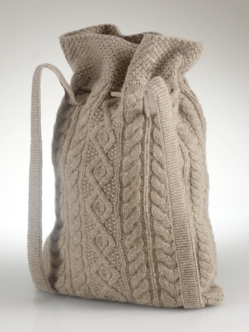 Knitted Intarsia backpack from the back.