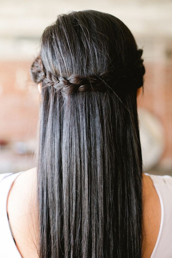 straight hair with a braided twist, photo by Amanda Watson http ...