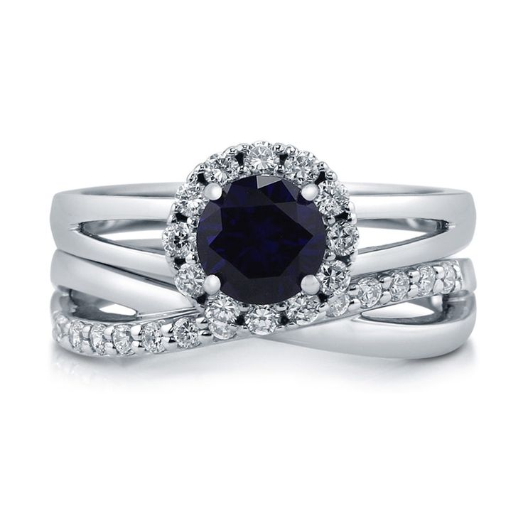 Simulated Sapphire Cubic Zirconia Halo Ring Set in Sterling Silver