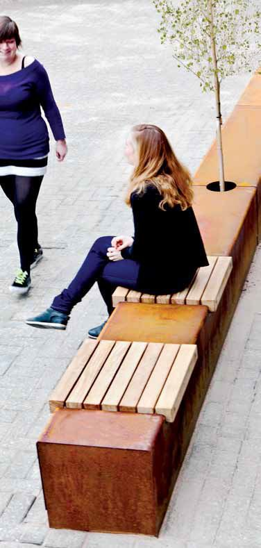 contemporary public bench in wood and metal CORTEN SEAT STRIPS Streetlife